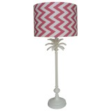 Raspberry chevron lampshade and white pineapple lampbase