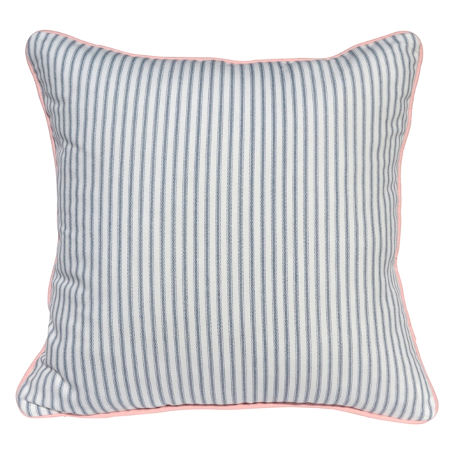 BLUE TICKING STRIPE CUSHION PINK PIPING Adorn