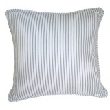 Blue ticking stripe self piping cushion